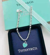 Return to Tiffany & Co Mini Heart Tag Beaded Bracelet 925 Teal Green Enamel 8 in