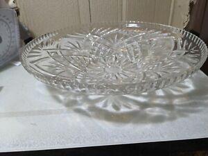 Vintage Cut Glass Fruit Bowl Deep Plate 13 Inches Diameter