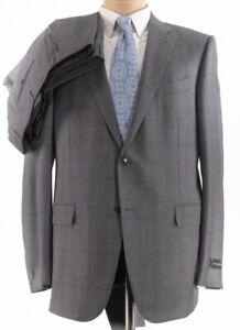 Ermenegildo Zegna NWT Suit SZ 44R In Gray With Subtle Brown Plaid Milano $3,295