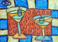 An Eye for Martinis Pop Art Print 8x10 by Artist Kimberly Helgeson Sams Cubist