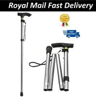 Easy Adjustable Folding Cane Plain Walking Stick UK Seller-Silver