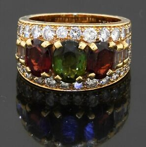 Vintage Bvlgari heavy 18K YG 5.50CT VS1/F diamond & tourmaline ring size 6.25