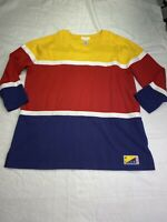 Jones New York Sport Cotton Blue red yellow White Block Pullover Plus sz 1x
