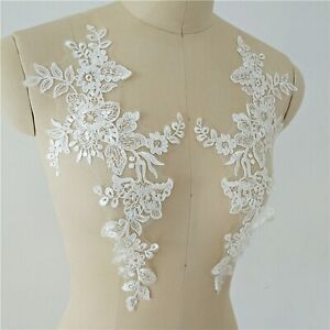 Costume Craft Lace Applique Floral Embroidery Evening Dress Wedding Motif 1 Pair