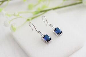 925 Sterling Silver Blue Zirconia Square Stone Drop Dangle Hook Earrings