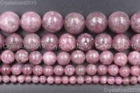 Natural Lepidolite Gemstone Round Spacer Loose Beads 4mm 6mm 8mm 10mm 12mm 15""