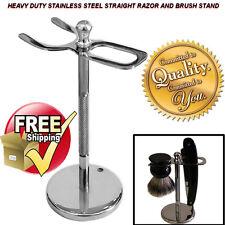 STAINLESS STEEL CUT THROAT RAZOR/STRAIGHT RAZORS & BRUSH STAND BARBER HEAVY DUTY
