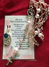Crystal/Pink Rosary + Holy Medal+Verse Card/in A Box