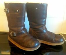 Genuine ugg biker boots leather with buckles australia brown size 6