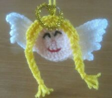 HAND KNITTED WHITE WINGED HOLY ANGEL XMAS TREE  DECORATION.
