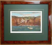 Fira, Santorini. Watercolour by listed artist John Thomas Young Gilroy c1960