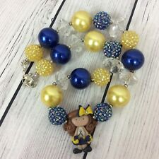Toddler Girl Chunky Bead Necklace Down Syndrome Awareness Pendant Yellow Blue