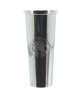 Starbucks 24 oz. Stainless Steel Silver Siren Cold Cup Tumbler with Straw