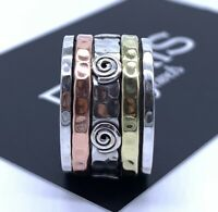 Designer 925 Sterling Silver Mens Ladies Spinner Ring Band Spinning Stress Worry