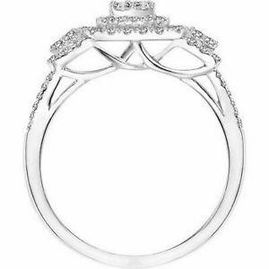 Diamond Cluster Engagement Ring 14K Gold Over Sterling Silver