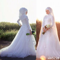 Wedding Dresses Ball Gown Lace Arabic Muslim Bridal Gowns With Hijab Long Sleeve