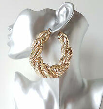 Gorgeous HUGE gold tone chunky twisted creole hoop earrings