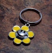 Vintage Key Chain Yellow ENamel Smiley Face Flower Hippy Hippie Key Fob