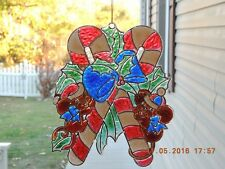 "Christmas Candy Cane Faux Stained Glass Window Ornament w/ Suction Hook 8"" x 10"""