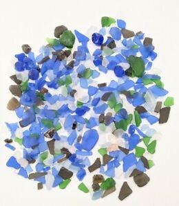 SEA GLASS MIXED COLORS & SIZES LOT BULK 1lb,13oz. Blue Green Clear Black