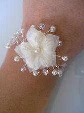 Bracelet Original Ecru/Ivoire/Cristal  robe Mariée/Mariage/Soirée Fleur pas cher