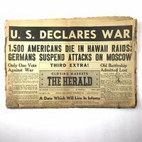Vintage Newspaper WWII War Hawaii Raid German Moscow Dayton Herald Ohio 1941