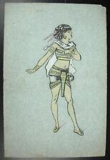 André Borrel (?) Egypte antique Egyptienne en costume Cléopatre Dessin original