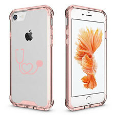 For iPhone 6 6s 7 Plus Clear Shockproof Bumper Case Heart Stethoscope Nurse