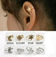 CUTE GOLD OR SILVER SET 2 EAR CUFF STAR MOON CLOVER HEART Up Helix Clip on PUNK