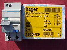 Réf AFC820F DISJONCTEUR DIFFERENTIEL 1P+N 4.5/6kA C-20A 300mA type AC 240V