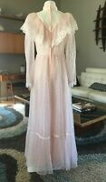 NOS Vintage 1970's Sheer Nylon Pink Hearts Lace Maxi Dress Hippie Sz 9 10