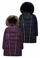Girls Kids Quilted Puffer Fur Trimmed School Jacket Coat Sizes 7-16 Years