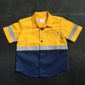 Short Sleeve Kids Hi Vis Work Shirts Yellow/Navy