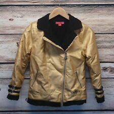 Betsey Johnson Golf Moto Jacket L(12) Junior Gold Betsy Shinny Pinup Bowling
