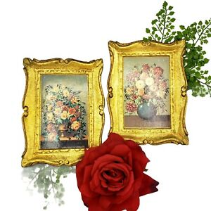 VINTAGE ART 2 Golden Florentine Roses Miniature Floral Made in Italy Style #1034
