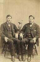 c. 1860's Twin Brothers Sitting Together CDV Photograph