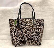 🆕 Kate Spade Mya Tote Leopard Print/Black Leather Reversible Bag + Wristlet