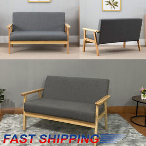 UK Modern 2 Seater Sofa Bed Armchair Upholstered Fabric Linen Seat Wooden Frame