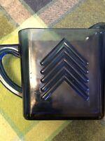 Cobalt Blue Hazel Atlas Depression Glass Unique Chevron Square Creamer 1930's