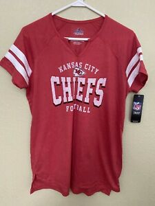 Kansas City Chiefs Majestic Women's T-shirt V-NECK - Red NWT