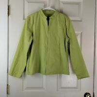 Eileen Fisher Lime Green Full Zip Lightweight Cotton Jacket Sz Med w/Pockets EUC