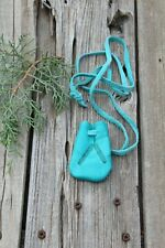Turquoise leather neck pouch with feathers , Leather amulet bag , medicine bag