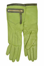 8320 COACH NWT WOMEN 82816 GREEN SILK & LEATHER LONG POCKET GLOVES SIZE: 6.5