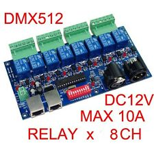 8 Channel DMX512 Controller Relay Switch Converter lamp lighting Driver Board