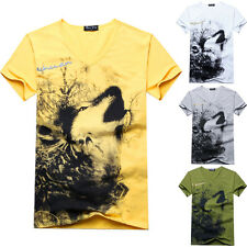 WS AU Mens T-shirt Short Sleeve Summer Wolf Pattern Design V-Neck Fashion Men's