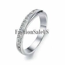 2MM Silver Plated Journey Cubic Zirconia Ring Women's Engagement Wedding Band