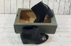 Timberland Tillston Peep Toe Black Leather Ankle Bootie Boots A1IE9 WMNS SZ 8.5
