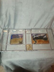 """HANGING SUNCATCHER HAND PAINTED CATS & MOUSE BEVELED GLASS 18 1/2"""" L × 8 """" H"""