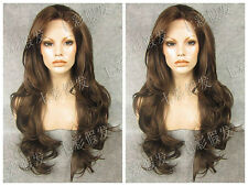 Fabulous Brown Elegant Synthetic Wig Long Wavy Front Lace Wig Hair For Women