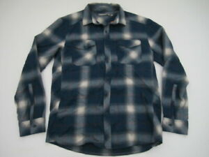 Mens Small Icebreaker Merino blue plaid button long sleeve shirt *See desc